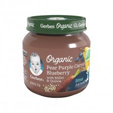 Gerber Organic 2nd Foods Glass Jar Pear Purple Carrot Blueberry with Millet Quinoa 113g(10pcs/carton)