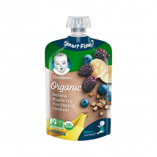 Gerber Organic 2nd Foods Banana Blueberry Blackberry Oatmeal Pouch 99g(12pcs/carton)
