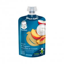 Gerber Toddler Food Fruit Yogurt Peaches and Cream Pouch 99g(12pcs/carton)